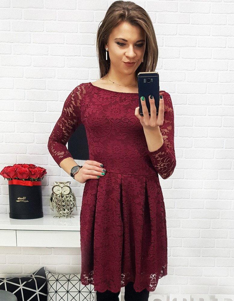 d2c4a0e50afa Bordové čipkované šaty s dlhým rukávom (ey0704)