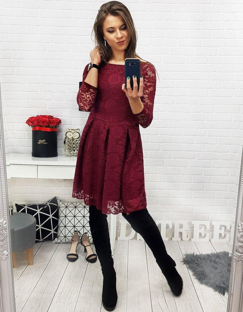 Bordové čipkované šaty s dlhým rukávom (ey0704). PrevNext 8b2312e8ec7