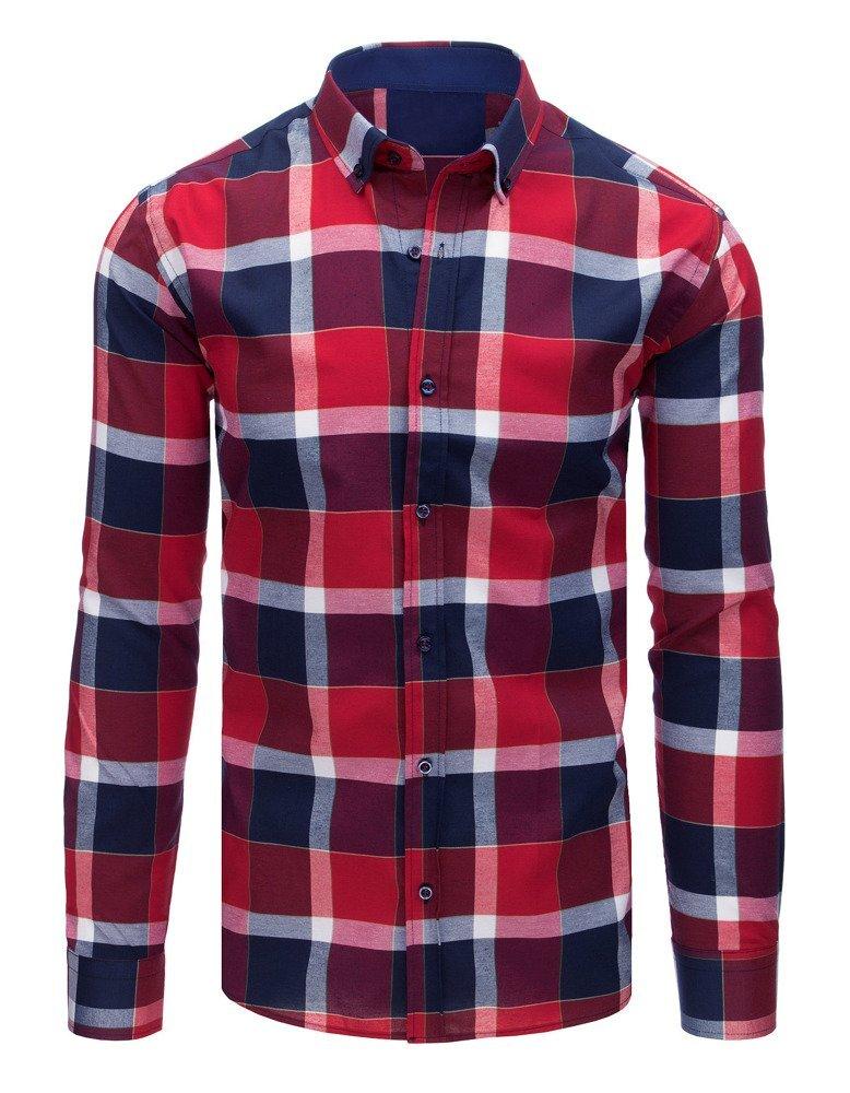 3bc364e9c735 Károvaná červeno-granátová pánska košeľa (dx1581)