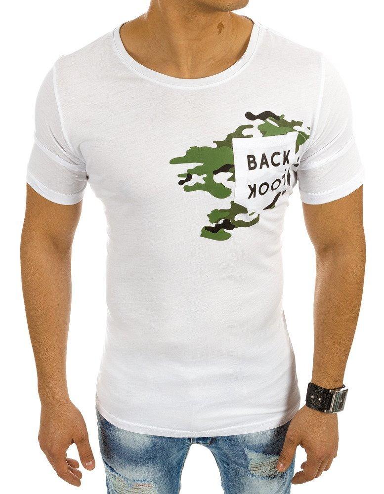 5b734af4614b Biele pánske tričko s potlačou (rx2026)