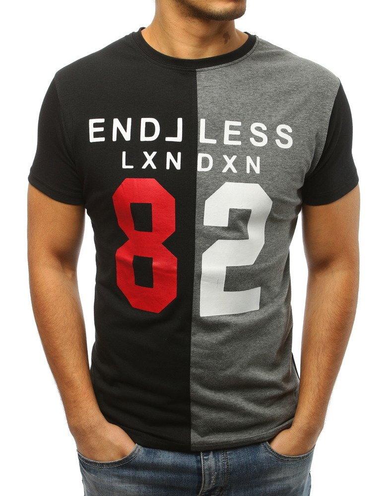 dcd6e515f Čierno-šedé pánske tričko s potlačou (rx3038)