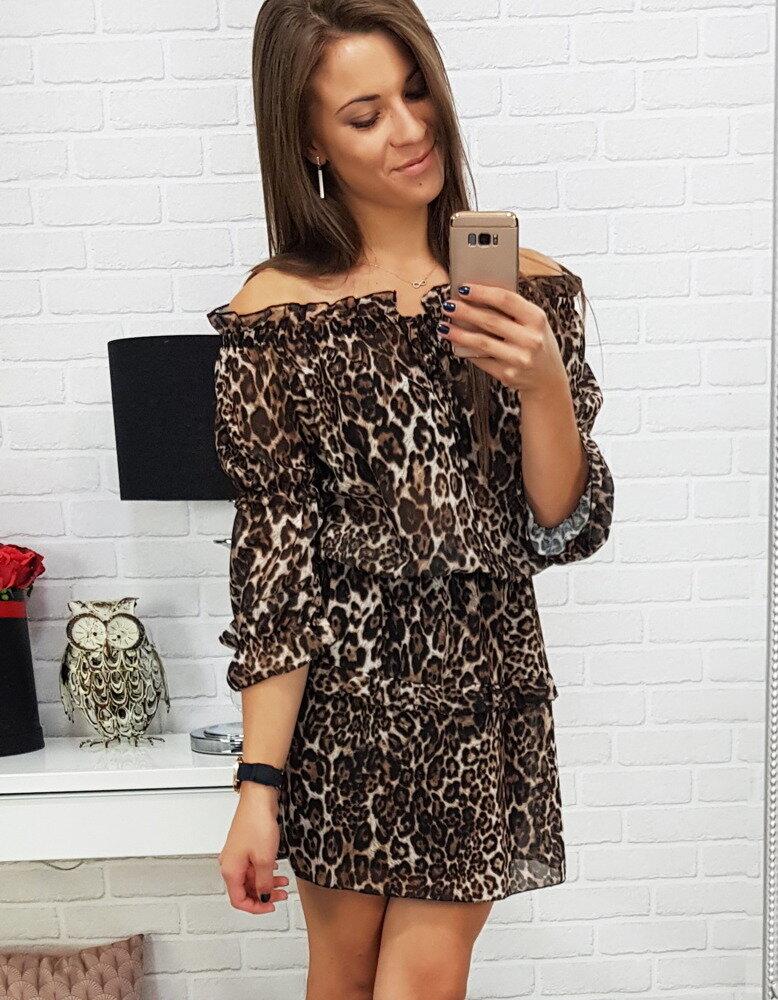 Módne dámske hnedé šaty (ey0437) e67dedb3b50