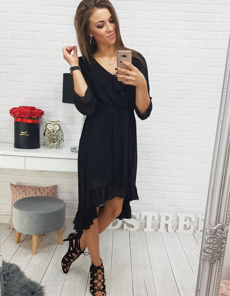 Moderné čierne šaty pre dámy (ey0457) bdf8de924b4