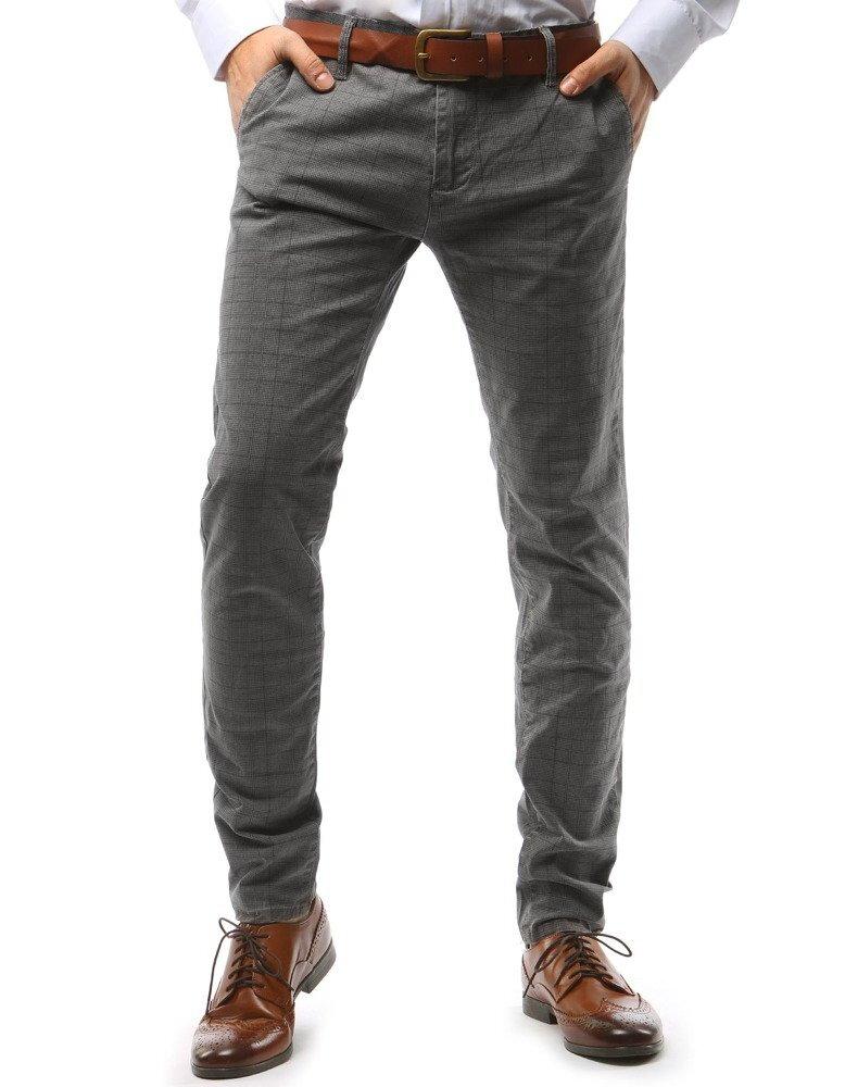 0a8f10259b Pánske šedé károvane nohavice (ux1592)