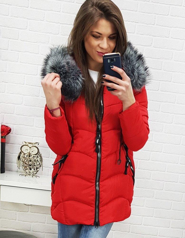 facb2a24a544 Krásna červená zimná dámska bunda (ty0516)