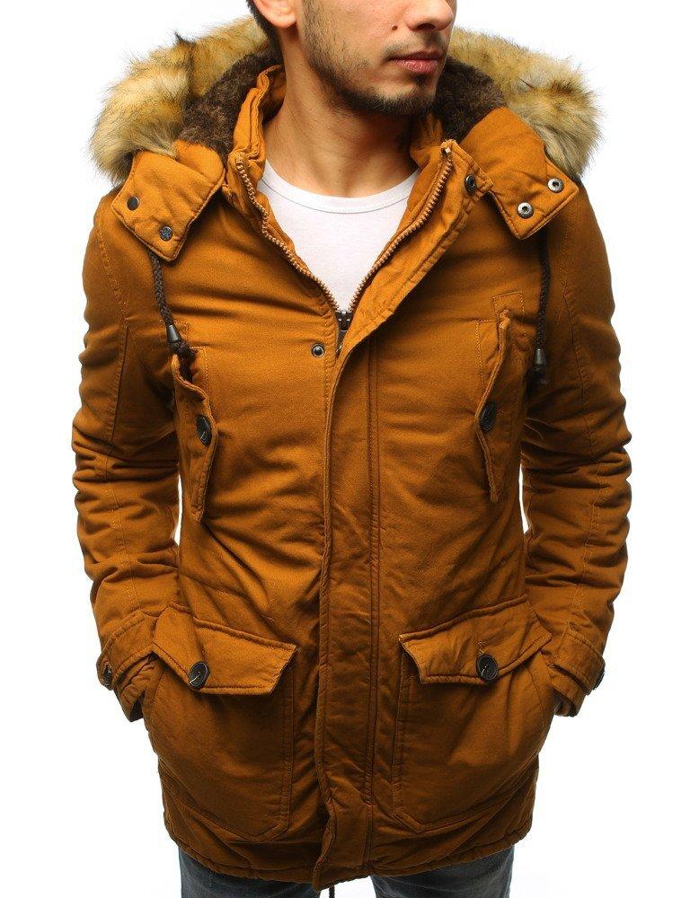3bae8edb8994 Horčicová pánska zimná bunda s kapucňou (tx2541)