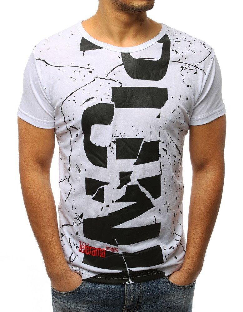 503285f22890 Pánske biele tričko s krátkym rukávom (rx3093)