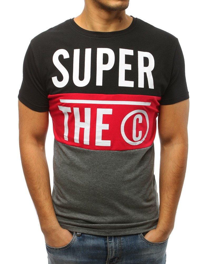 d74e512b7e95 Čierne pánske tričko s potlačou (rx3047)