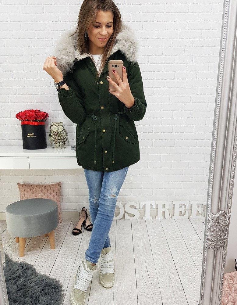b31cef3e4c4ef Zelená dámska bunda na zimu (ty0413)