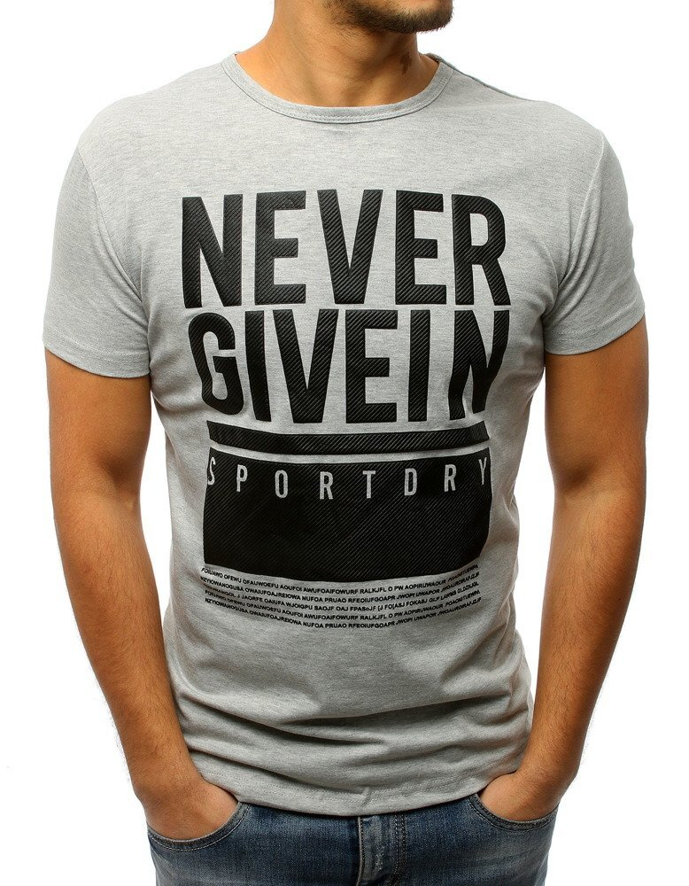 e69d31d2288b Svetlo-sivé pánske tričko s čiernou potlačou (rx2986)