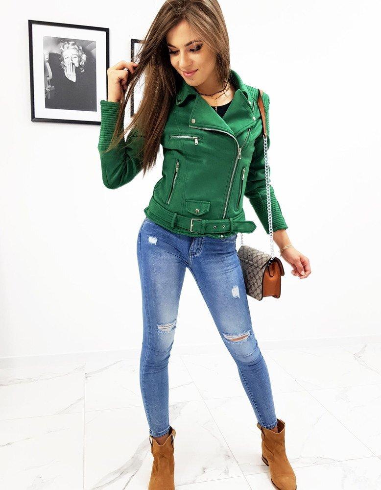 ac21b4d19 Zaujímavá dámska prechodná bunda zelenej farby (ty0551)
