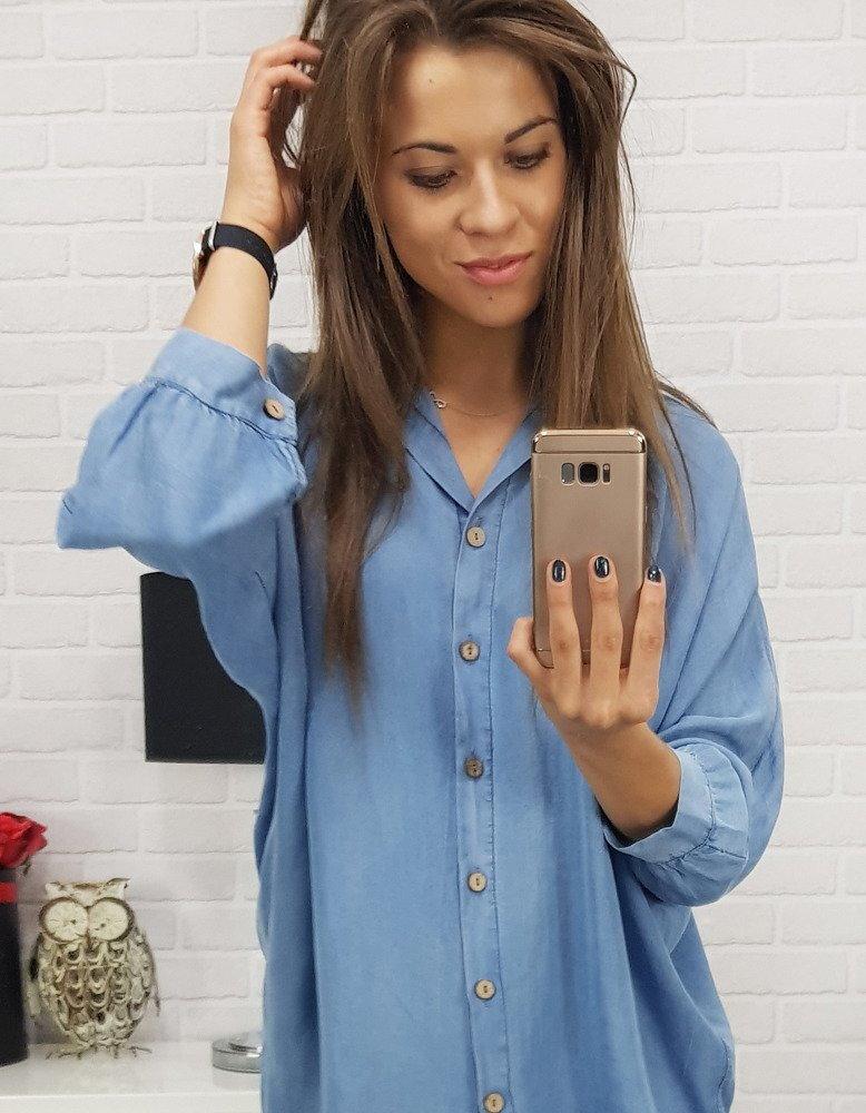6a44ea8e0200 Dlhá dámska džínsová košeľa.