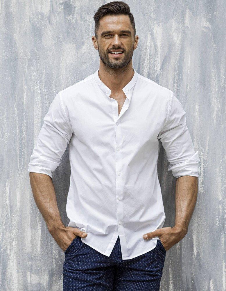 555bbe22cf7e Elegantná biela pánska košeľa (dx1585)
