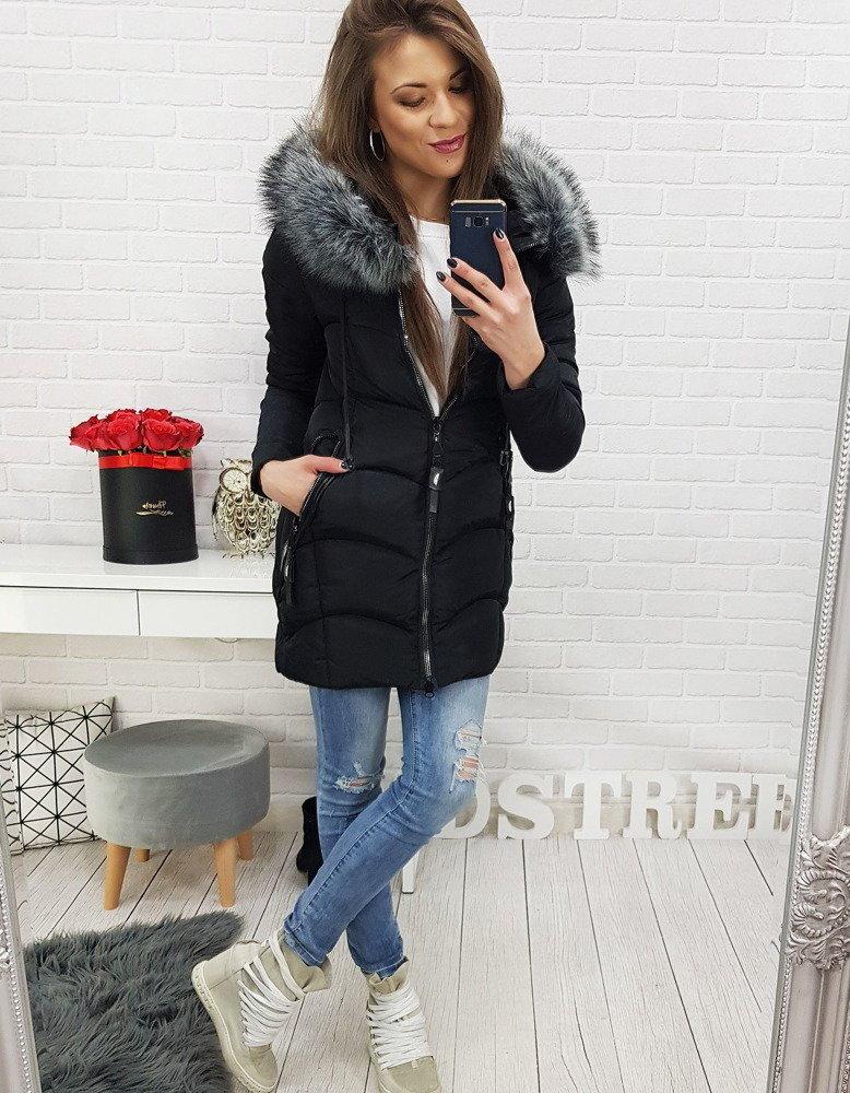 Čierna dámska zimná bunda s kapucňou (ty0518) 42591d1879f