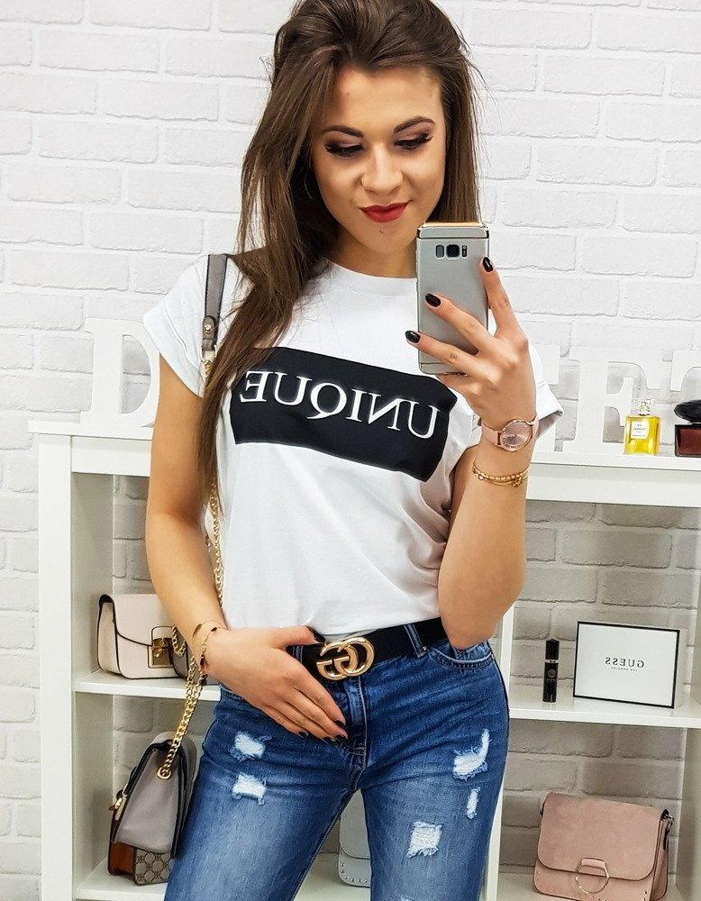 02eebddcad9d Biele dámske tričko s potlačou UNIQUE PREMIUM (ry0700)