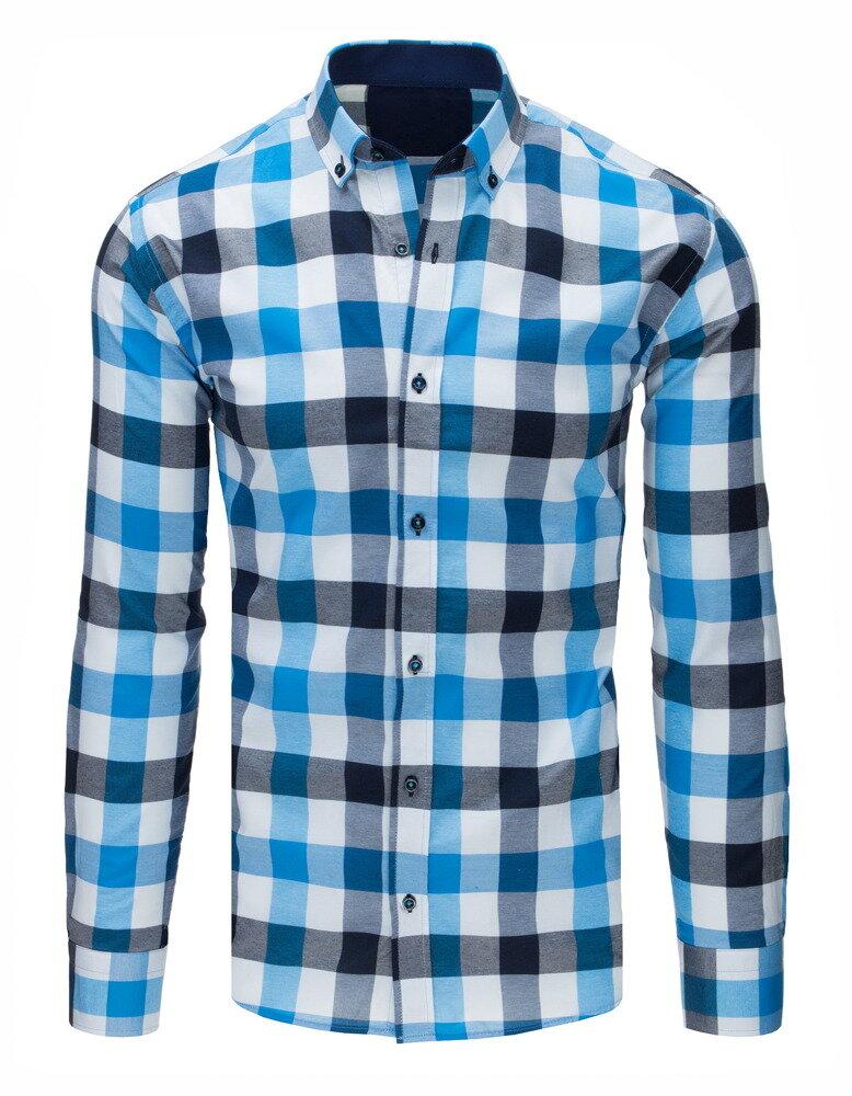 0d7aac0b4d91 Károvaná bielo-modrá pánska košeľa (dx1673)